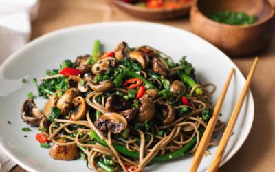 Roasted Teriyaki Mushrooms, Kale and Broccoli soba noodles