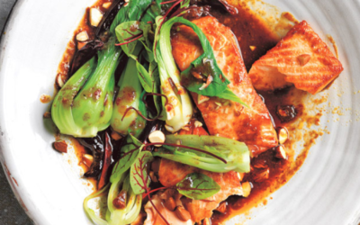 Spicy Tamarind Salmon with Bok Choy and Almonds