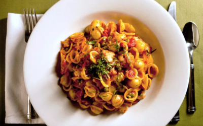 Orecchiette Pasta with Indian spiced Cauliflower and Peas