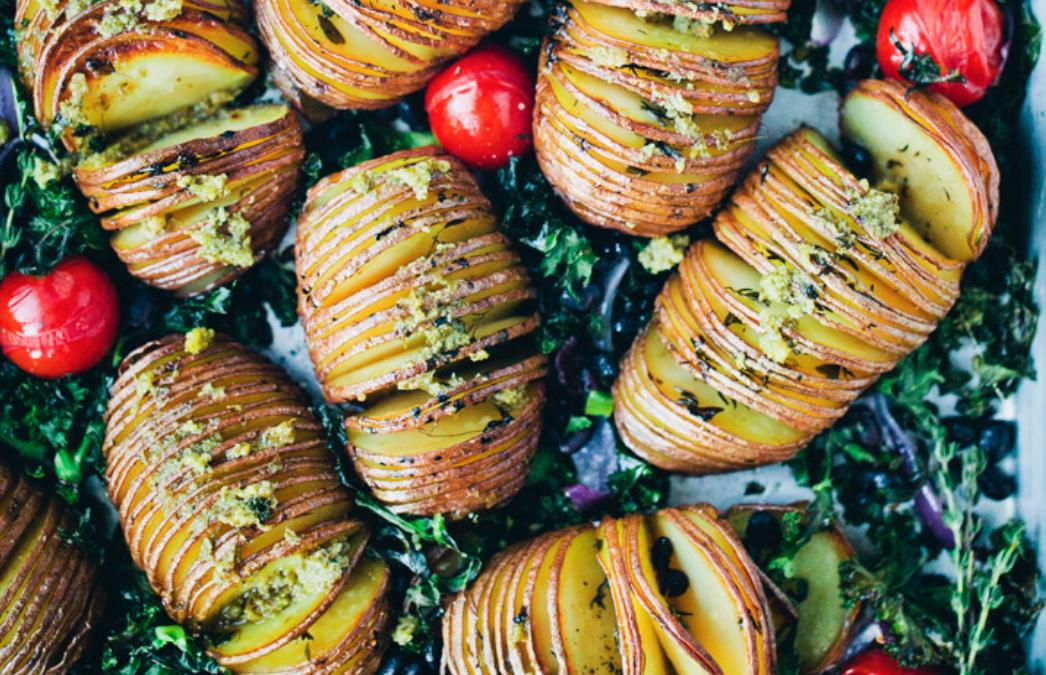 Hassellback Potatoes with Pesto