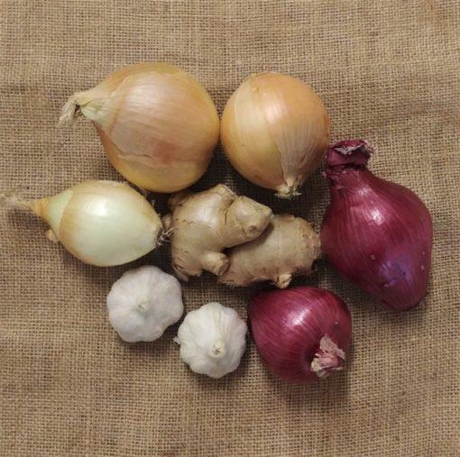 organic onions garlic ginger